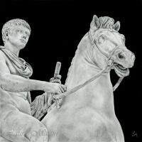 Roman Boy on a Horse of Stone by Caelitha