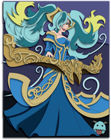 Commission:  LoL Sona Shadowbox Mock-up by The-Paper-Pony