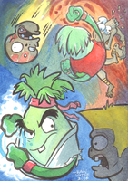 Plants Vs. Zombies Vs. Street Fighter by MJRainwater