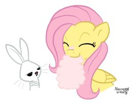Fluttershy eating Cotton Candy by northernlightsmlp