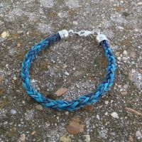 Braided Horsehair Bracelet - Black/Blue by TarpanBeadworks