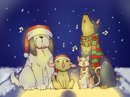 Adorable Carolers by PandaPoW