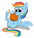 Filly Rainbow Dash versus yarn ball by Kreggur