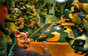 Slot Car Party print by Bob-C-Hardin