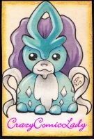 Chibi Suicune ATC for Clare by Reality-Bunny