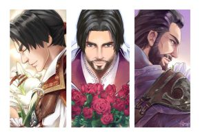 Ezio and Flowers by Hinoe-0