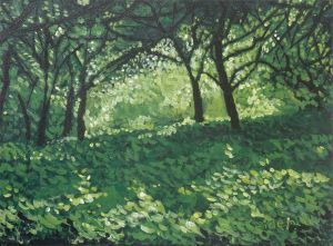 Green Forest Canvas Painting.