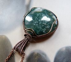Ocean jasper wire wrapped necklace by Kreagora