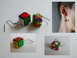 Rubik Cube earrings by GemDeDude