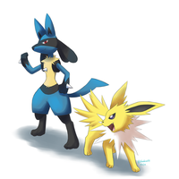 Lucario and Jolteon by Bluekiss131