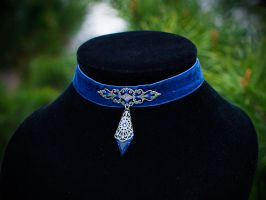 Gothic Royal Blue Velvet Filigree Chocker by Johanna-Ferrius