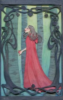 Snow White/Red Riding Hood Paper Cutting by Reine-Haru