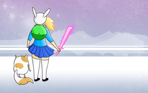 Adventure Time Wallpaper - Fionna and Cake by AJsCanvas