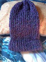 Purple Beanie with Light Blue Throughout by Wootzie14