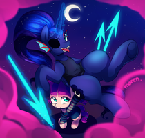 Halloween 2015 - Luna and Lily by Marenlicious