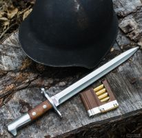 Swiss m1918 Helmet and Bayonet with loaded Clip by spaxspore