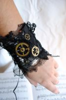 Tattered Gear Wrist Cuff by RagDolliesMadhouse