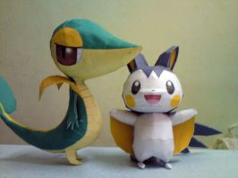 Snivy and Emolga by riolushinx