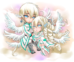 Light Couple Chibis by shrimpHEBY