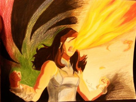 Quick Korra drawing (colored pencil) by xXTevinXx