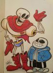 Papyrus and Sans by happydoodle