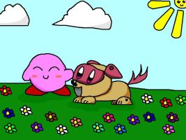 Kirby and his dog by ConiKirbyKirby