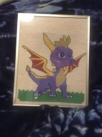 Spyro cross stitch now in frame by legendarydragonstar
