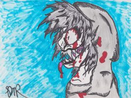Horrorcore Jeff The Killer Sharpie Drawing by psycholiger13