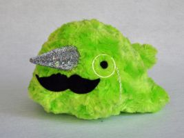 Fluffy lime narwhal... with monocle by TheOstrichFarm