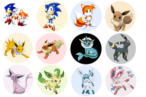 Sonic Tails and Eevee Bottle Caps by lcponymerch