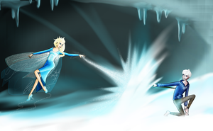 Elsa vs Jack Frost (edited) by chillydragon
