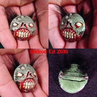 Zombie Head Pendant Pin ooak by Undead-Art