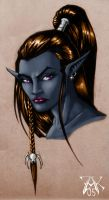 Commission: Drow Female Head by LRCommissions