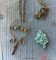 Copper Wire and Key Charm Necklace by Folksaga