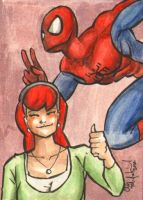 Spidey Mary Jane Sketch Card by ChrisMcJunkin