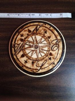 Compass design Wood Burned Coaster by AJ-anba17