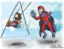 Magneto at the park - Super Villain Parent by thedustud