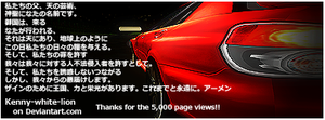 Thank you for 5000 pageviews by Kenny-White-Lion