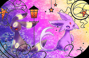 umbreon and espeon by EvilQueenie