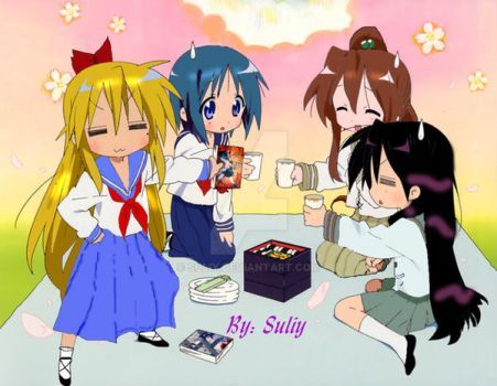 Luckystar and 4 Sailor senshi by Suliy