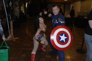 Wonder woman and captain america cosplay by DragonFly188