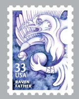 Inuit Myth Stamps: Raven by Cailey5586