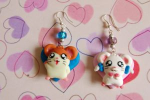 Hamtaro handmade polymer clay earrings by SimonaZ