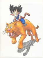 Goku and Tiger by kaztorama