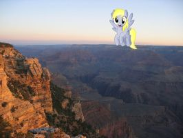 Derpy flying over the Grand Canyon by laopokia