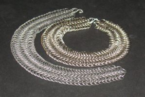 Chainmail Collars by DracoLoricatus