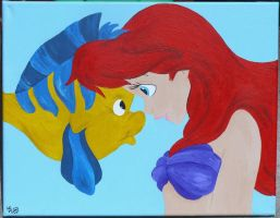 Flounder and Ariel by cattybonbon