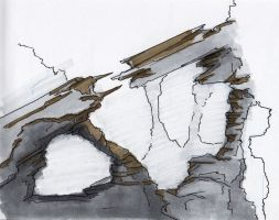 Copic Marker Sketch: Rock Formation 3 by mmarra12