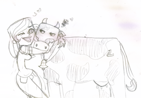 Skth: Lorie and Her Cow by XxDarkAlessaxX