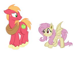 Flutterbat And Big Macintosh by PaulySentry